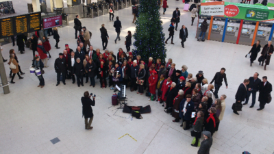 Wassailing at Waterloo for the Stroke Association